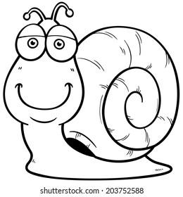 Vector illustration of Snail cartoon - Coloring book