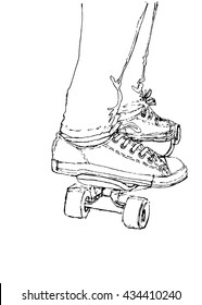 Vector illustration of sneakers and board
