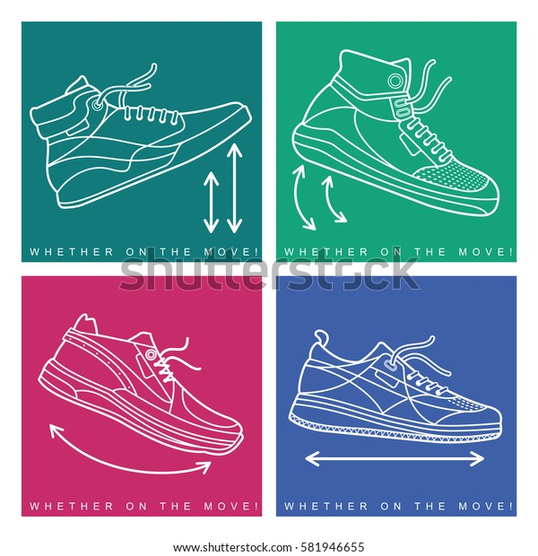Vector illustration of sneakers. Sports shoes in a line style. Advertisements, brochures, business templates. Isolated on a color background