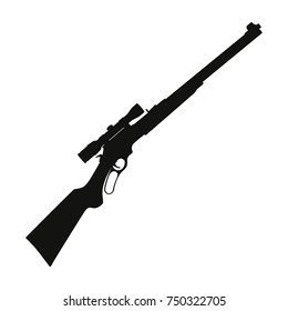 Vector illustration sniper rifle gun black silhouette icon isolated on white background.
