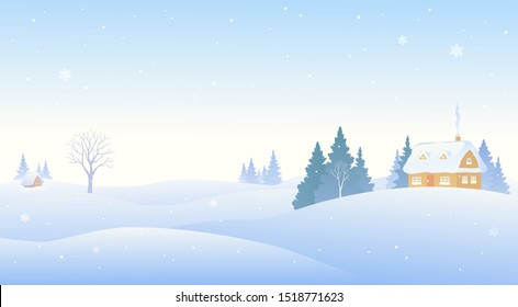 Vector illustration of a snow covered winter village, panoramic background