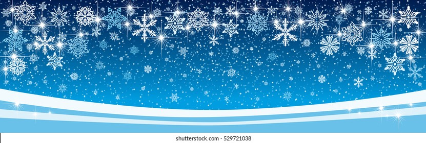 Vector illustration of snow crystals and snow fall with beautiful sparkling snow winter background