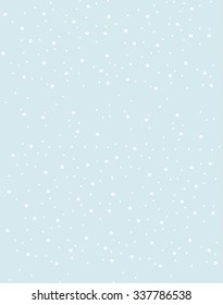 Vector illustration of the snow falling from the blue sky. Pattern design.