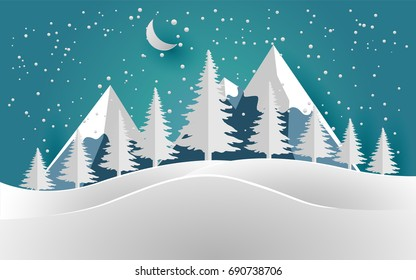vector illustration of the snow forest with beautiful sky. pines in winter and mountain. Merry christmas, paper art and craft.