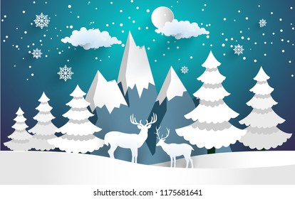 vector illustration of the snow forest and the deer. beautiful winter with paper art style
