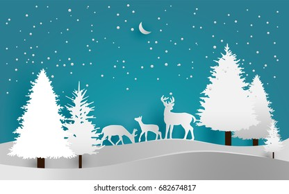 vector illustration of snow. pine in winter and deer. paper art style