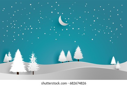 vector illustration of snow. pine in winter. paper art style