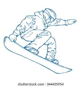 vector illustration of snowboarder; outline