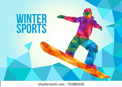 A vector illustration of Snowboarding Poster in Low Polygon Style