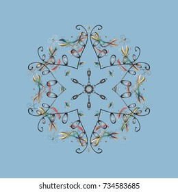 Vector illustration. Snowflakes pattern. Snowflakes background. Snowflake ornamental pattern. Flat design with abstract snowflakes isolated on background.