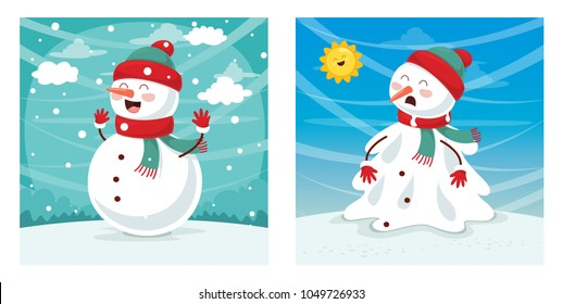 Vector Illustration Of Snowman