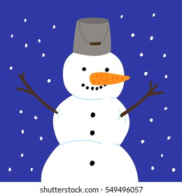 Vector illustration with snowman.
