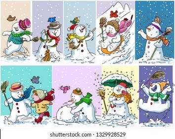 Vector illustration, snowman activities, cartoon concept.