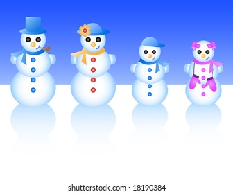 Vector illustration of a snowman family, including dad, mom, boy, and girl.