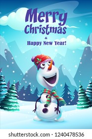 Vector illustration snowman greeting card Merry Christmas. For web, video games, user interface, design.