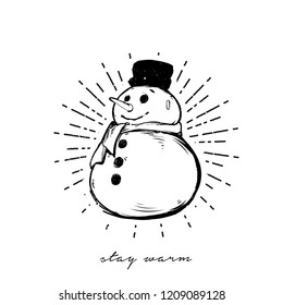 Vector illustration - Snowman isolated on white background