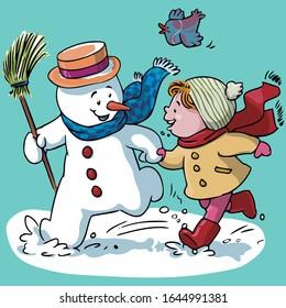 Vector illustration, snowman with kid, cartoon concept.