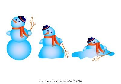 Vector illustration of snowman melts