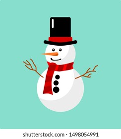 Vector illustration of a snowman on a blue background