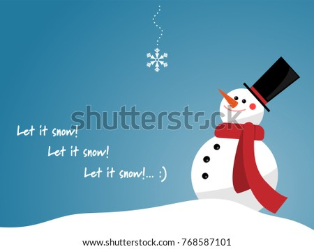 456ed3f5ecec8 Vector illustration of snowman with red scarf look at a snowflake have  falling from blue sky and