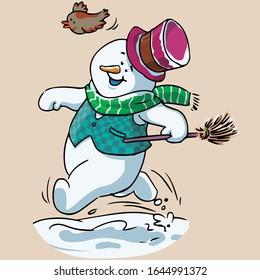 Vector illustration, snowman running, cartoon concept.