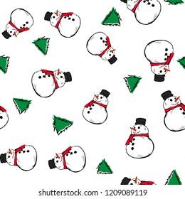 Vector illustration - Snowman seamless pattern