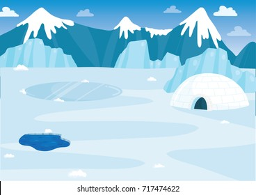 Vector illustration of snowy arctic background full of ice, snow, and glaciers