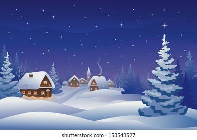 Vector illustration of a snowy Christmas eve village