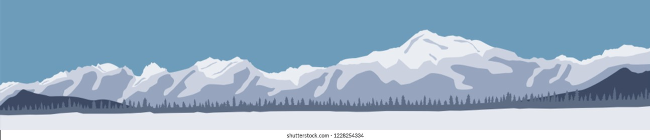 Vector illustration with snowy mountains with pine tree forest in silhouette. Winter landscape background.