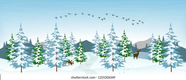 Vector illustration of a snowy winter landscape