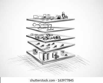 Vector Illustration of SOA with different layer components like Presentation, business process, Service component, message and legacy, enterprise application layer?? sketch, pencil drawing