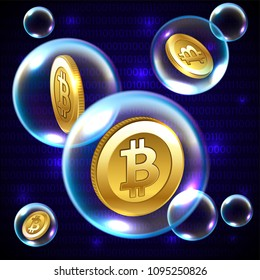 Vector illustration - soap bubble with Bitcoin, investment risk concept
