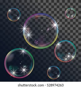 Vector illustration of soap bubbles on transparent background.