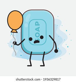 Vector Illustration of Soap Character with cute face, simple hands and leg line art on Isolated Background. Flat cartoon doodle style.