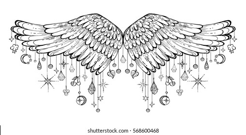 vector illustration of soaring wings, with hanging garlands, pendants, charms, isolated, handmade ink, decorative element for design. Tribal tattoo. Printing on textiles, clothing, t-shirt.