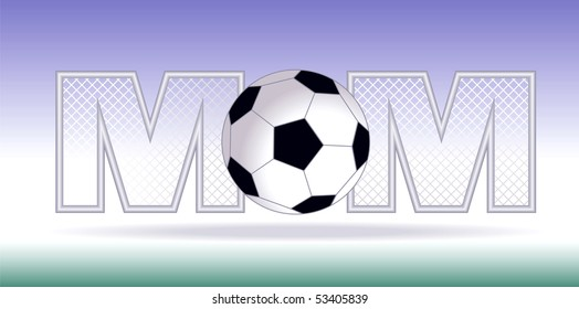 Vector illustration of a soccer ball between two M shaped goal posts depicting the word Soccer Mom