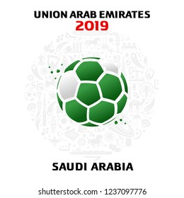 Vector illustration of a soccer ball in the colors of the national flag with modern and traditional elements. 2018, 2019. Asian Football Cup, Club World Cup in the United Arab Emirates