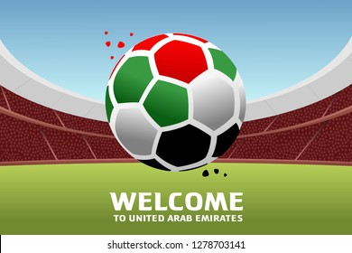 Vector illustration of a soccer ball in the colors of the national flag.