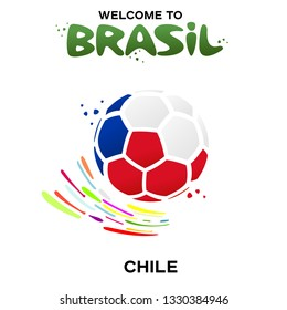 Vector illustration of a soccer ball in the colors of the national flag on the white background. CONMEBOL Copa America 2019 soccer championship tournament in Brasil. Broadcast template. Football champ