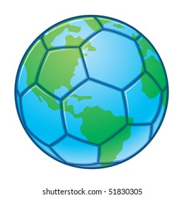 Vector illustration of a soccer ball designed to look like the planet earth. Great for World Cup designs.