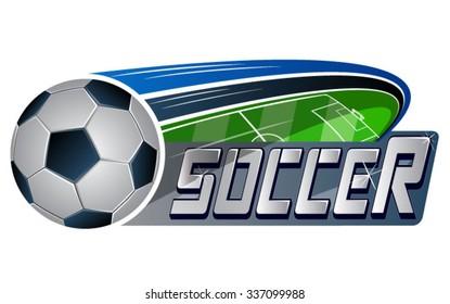 Vector illustration of soccer ball & soccer field