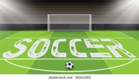 Vector illustration of soccer ball with field & goal posts in the bacground
