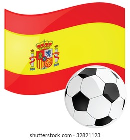 Vector illustration of a soccer ball in front of the Spanish flag
