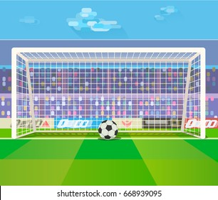 Vector illustration of soccer ball in gates on a stadium.