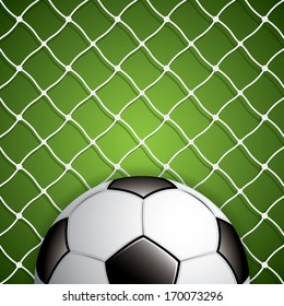 Vector illustration of soccer ball in net