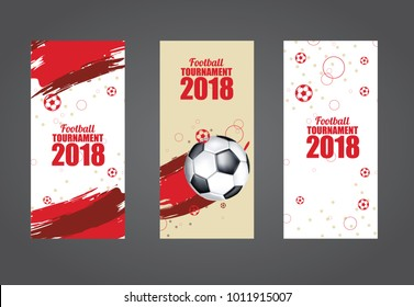 vector illustration. soccer cup graphic design set of vertical flags with modern abstractions and patterns on the background. vector set of elements for football champions. football 2018 in Russia