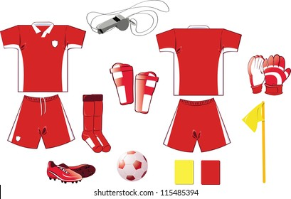 A vector illustration of soccer equipment - every object is singly grouped