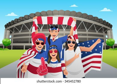 A vector illustration of soccer fans outside of the stadium