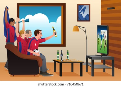 A vector illustration of soccer fans watching the game on TV