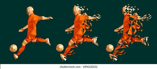 98849643394 vector illustration soccer football player low-poly style concept orange netherlands  holland dutch uniform colour